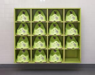 Estonia, rack with potties in a newly built kindergartenの写真素材 [FYI04341808]