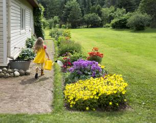 Estonia, girl walking with watering can on pathway near housの写真素材 [FYI04341846]