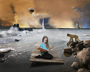 Girl imagining content of book, 3D Renderingのイラスト素材 [FYI04341864]