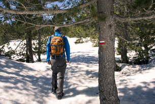 Spain, Catalonia, man with backpack hiking in the Pyrenees iの写真素材 [FYI04341946]