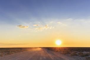 Namibia, Etosha National Park, off-road vehicle driving on gの写真素材 [FYI04342013]