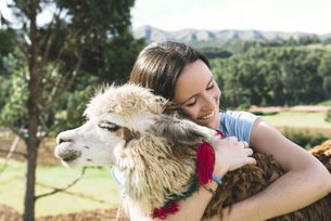 Peru, Cusco, young woman hugging an alpacaの写真素材 [FYI04342031]