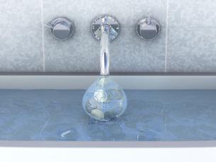 Water plug with running moneyのイラスト素材 [FYI04342255]