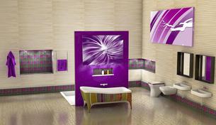 Modern bathroom with purple elements, illustrationのイラスト素材 [FYI04342273]