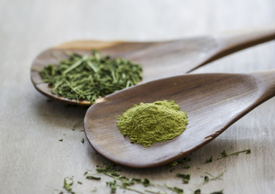 Moringa oleifera, powder and chopped leaves on wooden spoonsの写真素材 [FYI04342540]