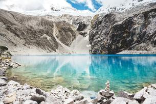 Peru, Cordillera Blanca, Huaraz, Huascaran National Park, Laの写真素材 [FYI04342907]