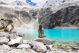 Peru, Cordillera Blanca, Huaraz, Huascaran National Park, woの写真素材 [FYI04342908]