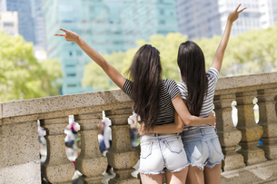 USA, New York City, back view of two young women in Manhattaの写真素材 [FYI04343176]