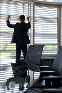 Cheering businessman in office at the windowの写真素材 [FYI04343672]