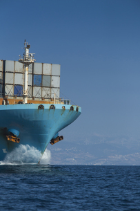 Spain, Andalusia, Tarifa, Container shipの写真素材 [FYI04343815]
