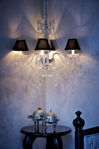 Morocco, Fes, Hotel Riad Fes, lightened ceiling lamp in a coの写真素材 [FYI04343833]
