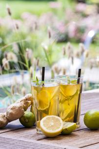Homemade iced tea, lemonade with fresh ginger, lemon, lime aの写真素材 [FYI04343995]