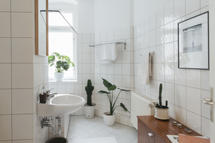 Minimalist white bathroomの写真素材 [FYI04344177]
