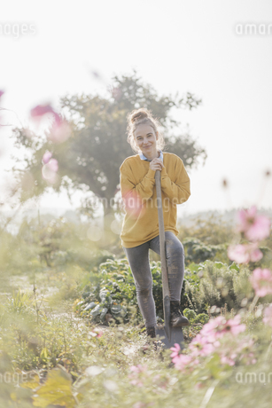 Smiling young woman with spade in cottage gardenの写真素材 [FYI04345297]