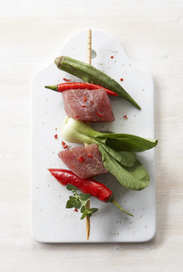 Tuna Kebab with vegetable, elevated viewの写真素材 [FYI04345846]
