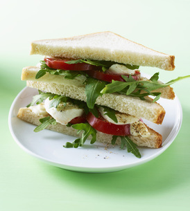 Toast with Tomato, Mozzarella, Mayonnaise and rocket salad oの写真素材 [FYI04345869]