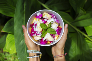 Woman's hands holding bowl of tropical fruit saladの写真素材 [FYI04346235]
