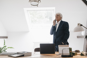 Senior businessman on the phone in his officeの写真素材 [FYI04346408]