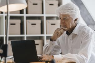 Senior businessman working on laptop in his officeの写真素材 [FYI04346420]