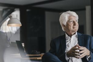 Smiling senior businessman in his officeの写真素材 [FYI04346427]
