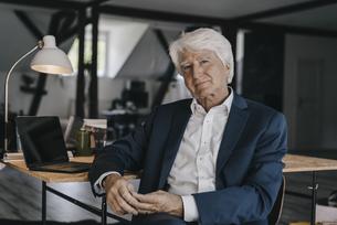 Portrait of senior businessman in his officeの写真素材 [FYI04346430]