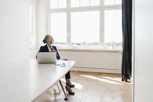 Businesswoman working on laptop in officeの写真素材 [FYI04347269]