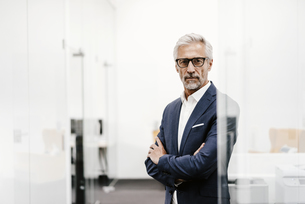 Portrait of serious mature businessman in officeの写真素材 [FYI04347576]