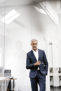 Portrait of serious mature businessman in officeの写真素材 [FYI04347603]