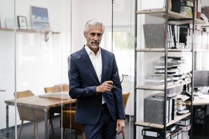 Portrait of serious mature businessman in officeの写真素材 [FYI04347604]