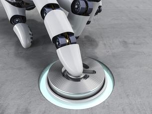 Robot pushing button, 3d renderingのイラスト素材 [FYI04349528]