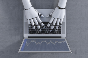 3D Rendering, Robot and laptop, stock exchange tradingのイラスト素材 [FYI04349548]
