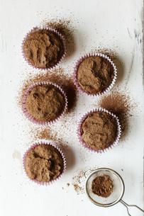 Vegan chocolate muffins, sugar-free and full-valueの写真素材 [FYI04349679]
