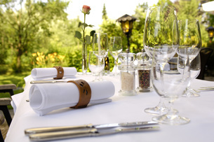 Laid table in  restaurantの写真素材 [FYI04350824]