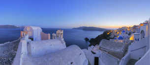 Greece, View of Oia village with bell tower of Greek Orthodoの写真素材 [FYI04355984]