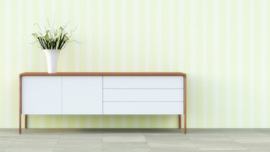 Sideboard with flower vase in front of striped wallpaperのイラスト素材 [FYI04357614]