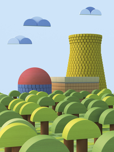 3D Rendering, Nuclear power station from toy blocksのイラスト素材 [FYI04357689]