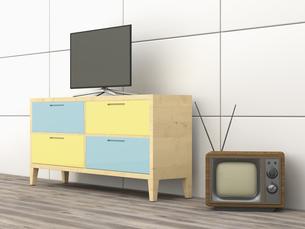 3D Rendering, old tv, modern flatscreen tv on wardrobeのイラスト素材 [FYI04357798]