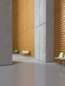 Empty seat rows in a lobby, 3D Renderingの写真素材 [FYI04357854]