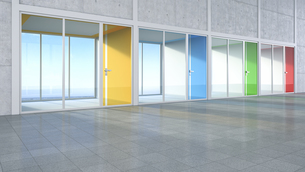 3D Rendring, modern architecture, offices, colorful glass doの写真素材 [FYI04357880]