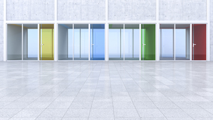 3D Rendring, modern architecture, offices, colorful glass doの写真素材 [FYI04357881]