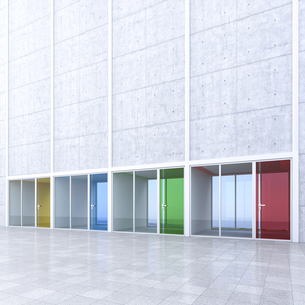 3D Rendring, modern architecture, offices, colorful glass doの写真素材 [FYI04357883]
