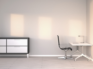 Empty modern office at twilight, 3D Renderingのイラスト素材 [FYI04357910]