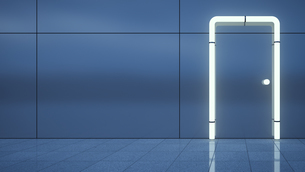 Door built of neon tubes on blue metal wallのイラスト素材 [FYI04358003]