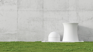 3D Illustration, nuclear power station, concrete wall and meのイラスト素材 [FYI04358059]