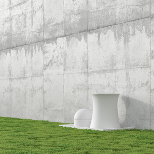 3D Illustration, nuclear power station, concrete wall and meのイラスト素材 [FYI04358064]