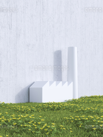 3D Rendering, industrial hall on a wall, meadowのイラスト素材 [FYI04358067]