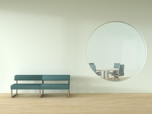 Bench standing in front of wall with oculus and view into meのイラスト素材 [FYI04358133]