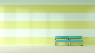 Waiting room with bench in front of striped wallのイラスト素材 [FYI04358135]