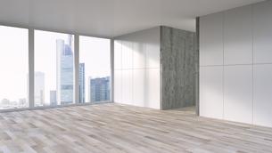 Empty apartment with wooden floor, 3d Renderingのイラスト素材 [FYI04358235]