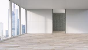 Empty apartment with wooden floor, 3d Renderingのイラスト素材 [FYI04358236]